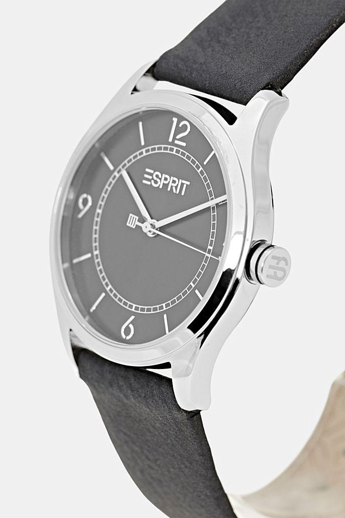 Vegan: montre en acier inoxydable, bracelet en similicuir, BLACK, detail image number 1