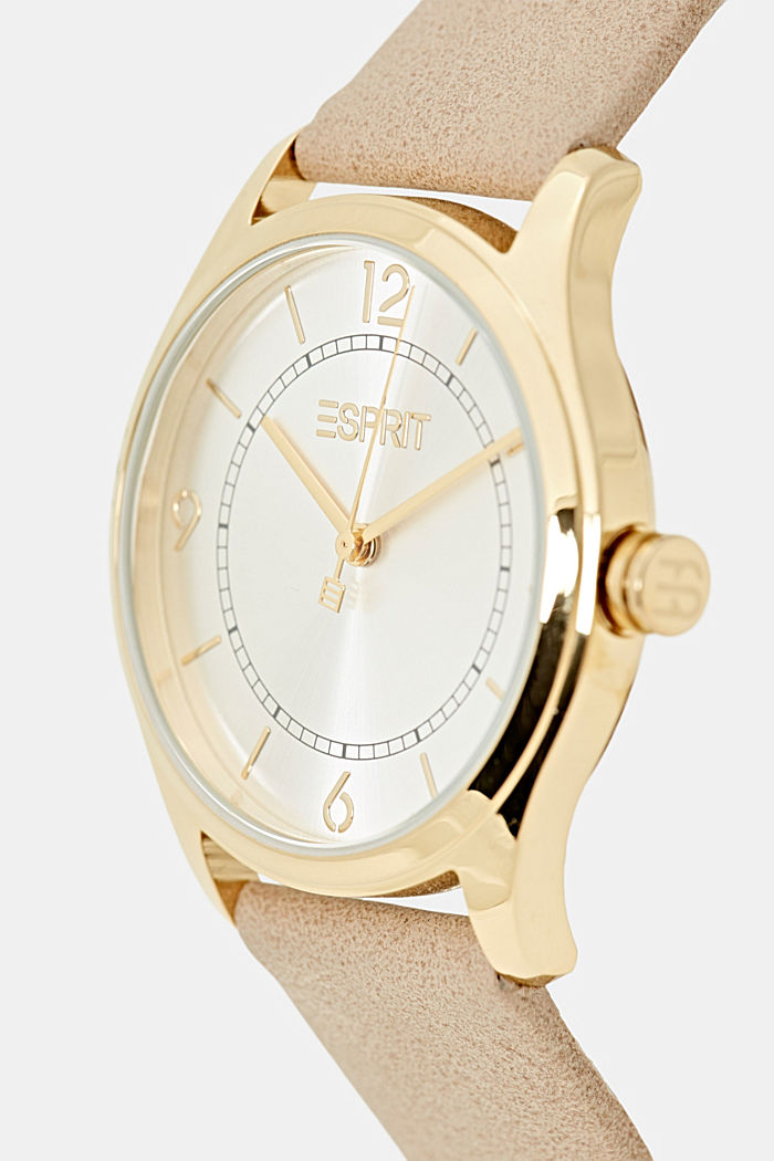 Vegan: stainless steel watch with a faux leather strap, BEIGE, detail image number 1