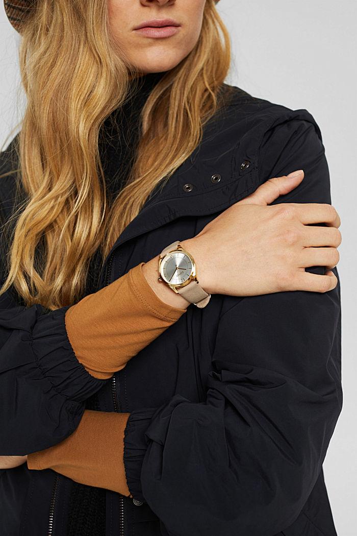 Vegansk: klocka av rostfritt stål med armband i skinnlook