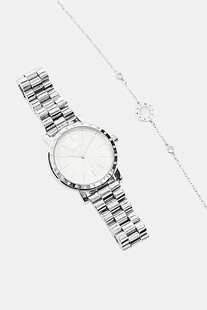 Set de pulsera y reloj de acero inoxidable
