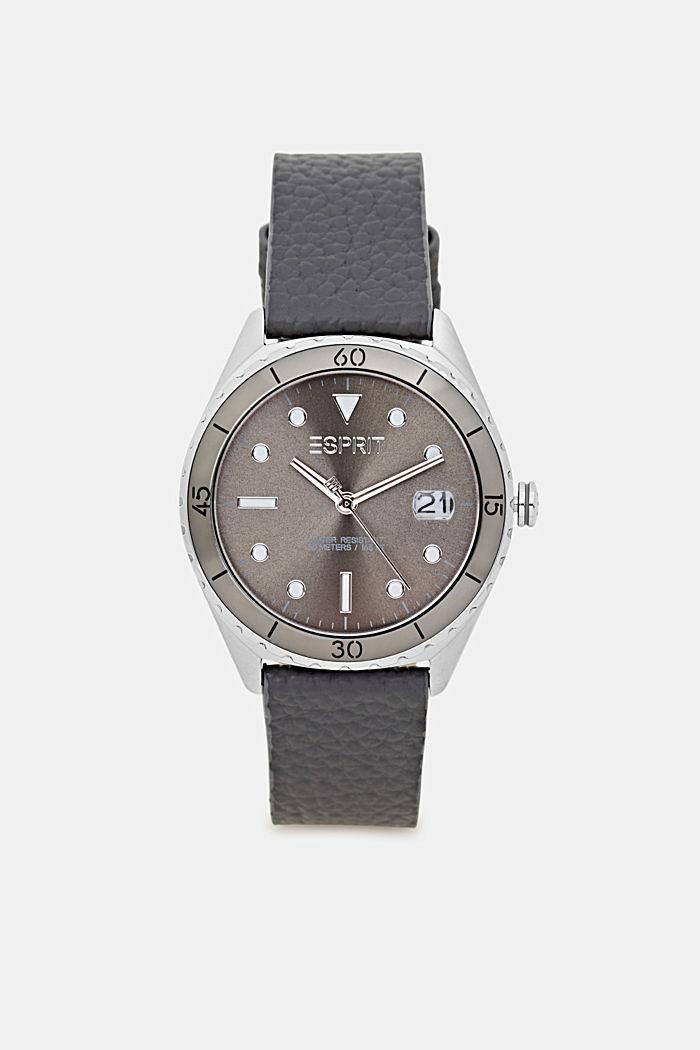 Edelstalen horloge met leren bandje, DARK GREY, detail image number 0