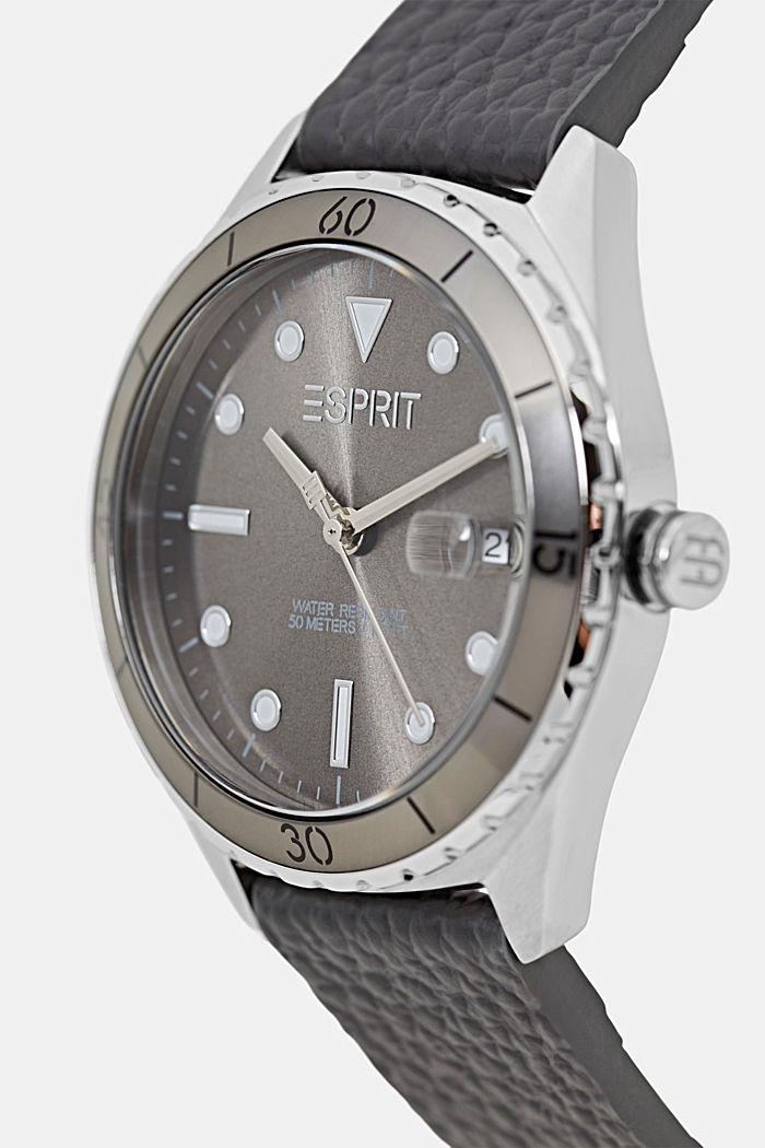 Edelstalen horloge met leren bandje, DARK GREY, detail image number 1