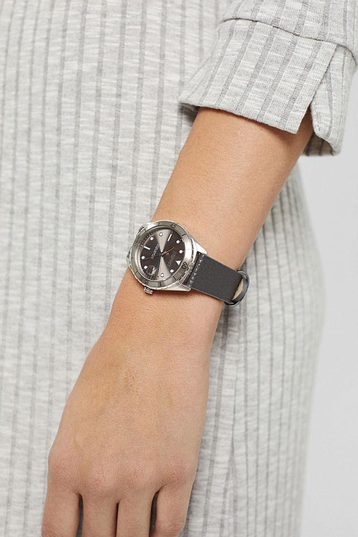 Edelstalen horloge met leren bandje, DARK GREY, detail image number 2