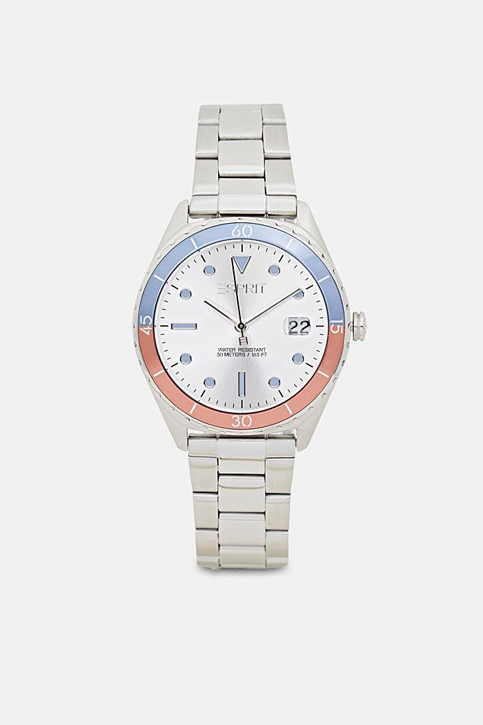 Reloj de acero inoxidable con pulsera de eslabones, SILVER, detail image number 0