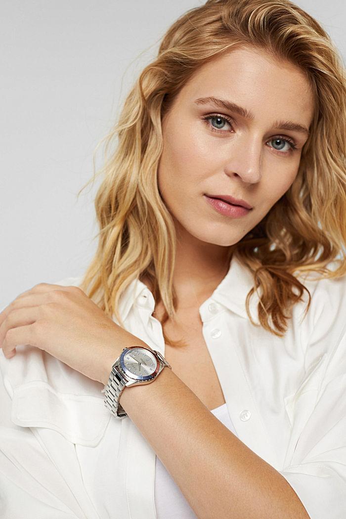 Reloj de acero inoxidable con pulsera de eslabones, SILVER, detail image number 4