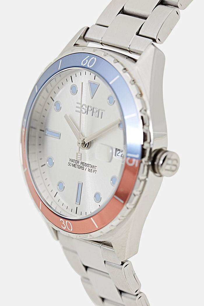 Reloj de acero inoxidable con pulsera de eslabones, SILVER, detail image number 1