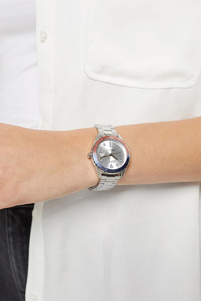 Reloj de acero inoxidable con pulsera de eslabones, SILVER, detail image number 2