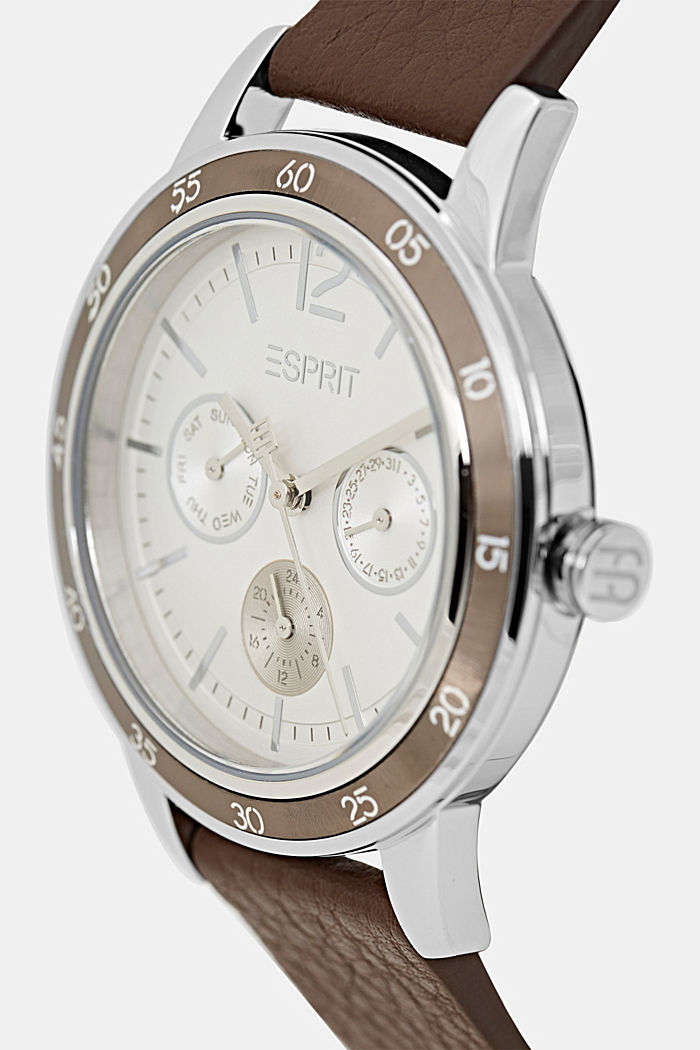 Multifunctioneel horloge met leren bandje, DARK BROWN, detail image number 1