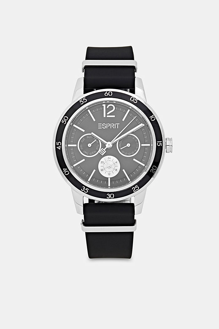 Multi-functional watch with rubber strap