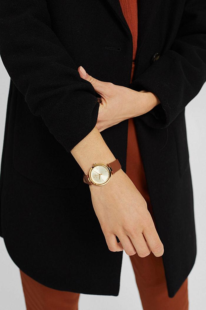 Montre en acier inoxydable, bracelet en cuir et pierres de zircon, BROWN, detail image number 2