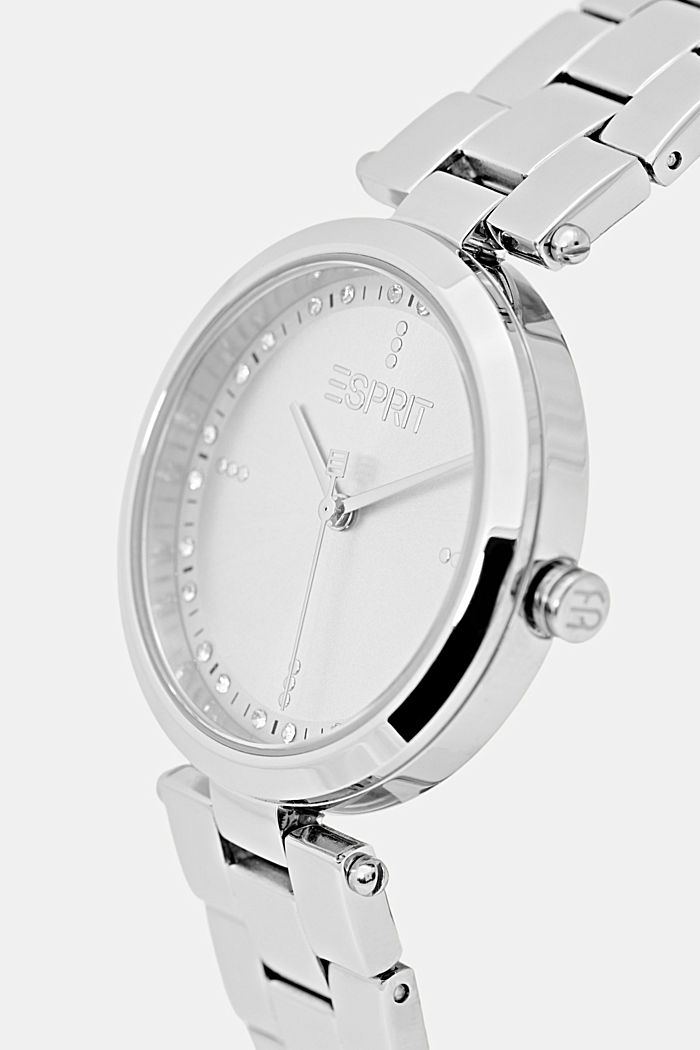 Stainless steel watch with a link bracelet and zirconia, SILVER, detail image number 1