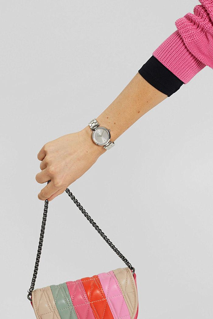 Orologio in acciaio inossidabile con cinturino a maglie e zirconi