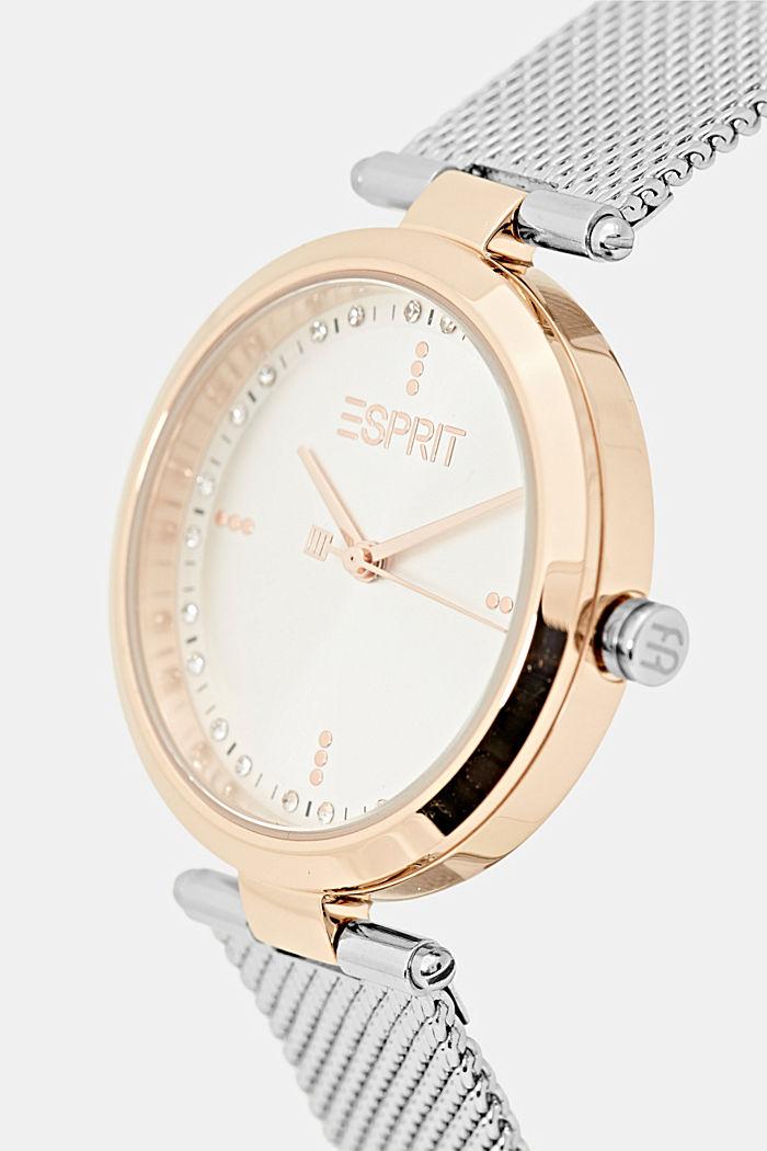 Tweekleurig edelstalen horloge met mesh bandje, SILVER, detail image number 1