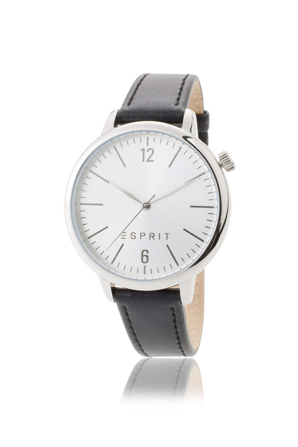 Esprit - womens watch with a black leather strap