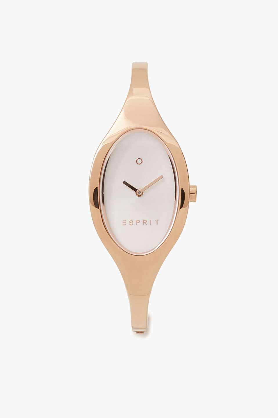 We love pink gold: bangle-style bracelet watch with an oval face