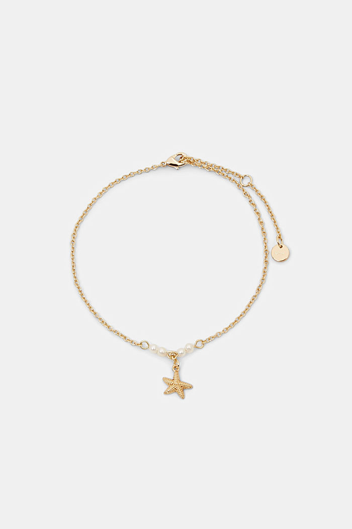 Tobillera con estrella de mar y cuentas, GOLD, detail image number 0