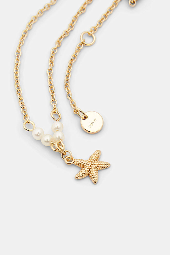 Tobillera con estrella de mar y cuentas, GOLD, detail image number 1