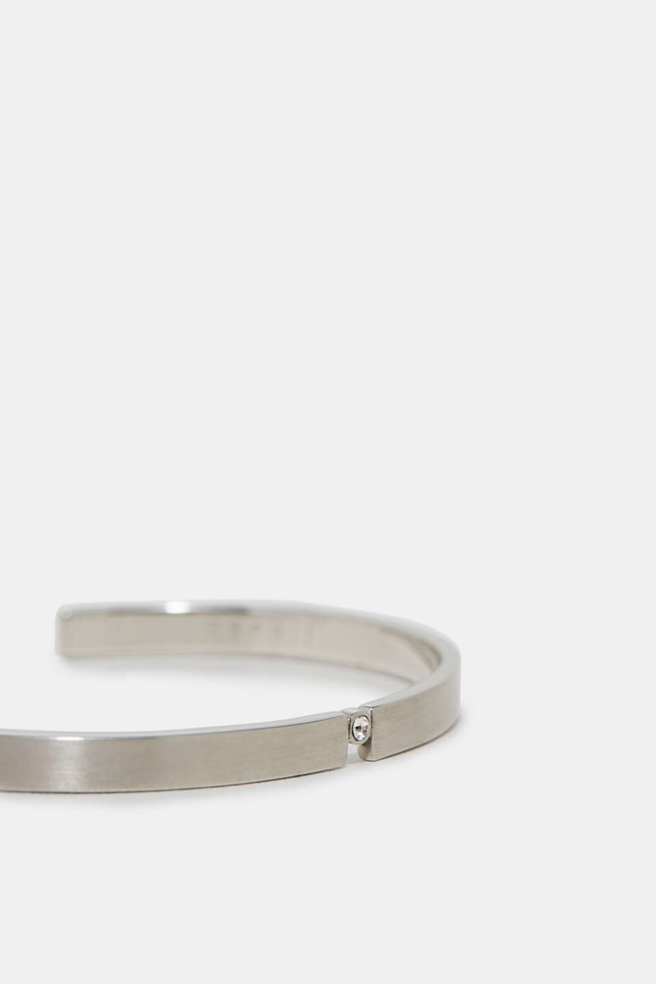 Open bangle with zirconia, in stainless steel