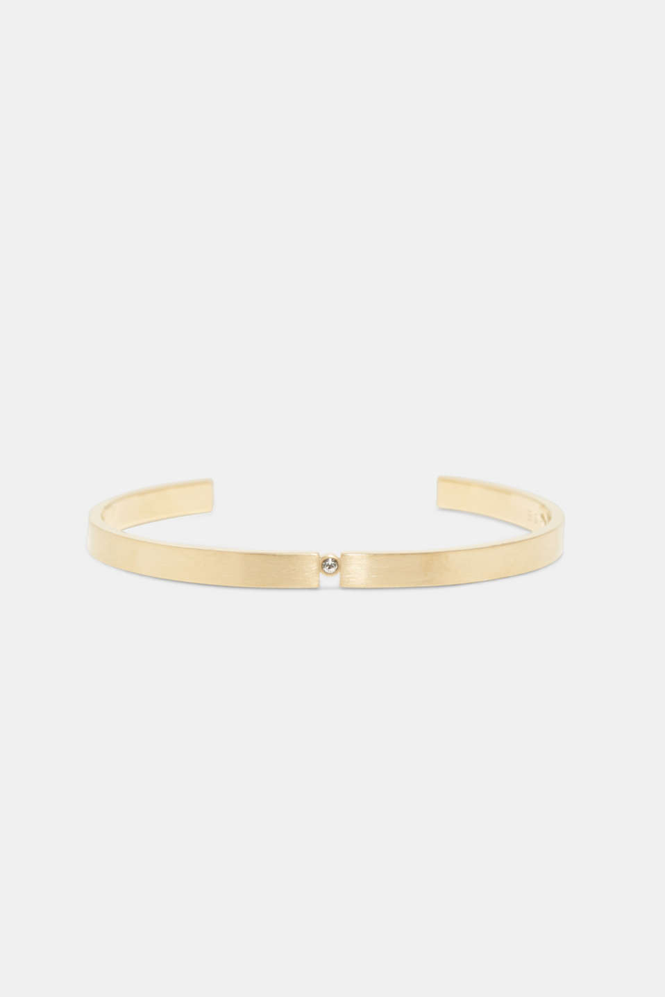 Esprit - Open bangle with zirconia, in stainless steel