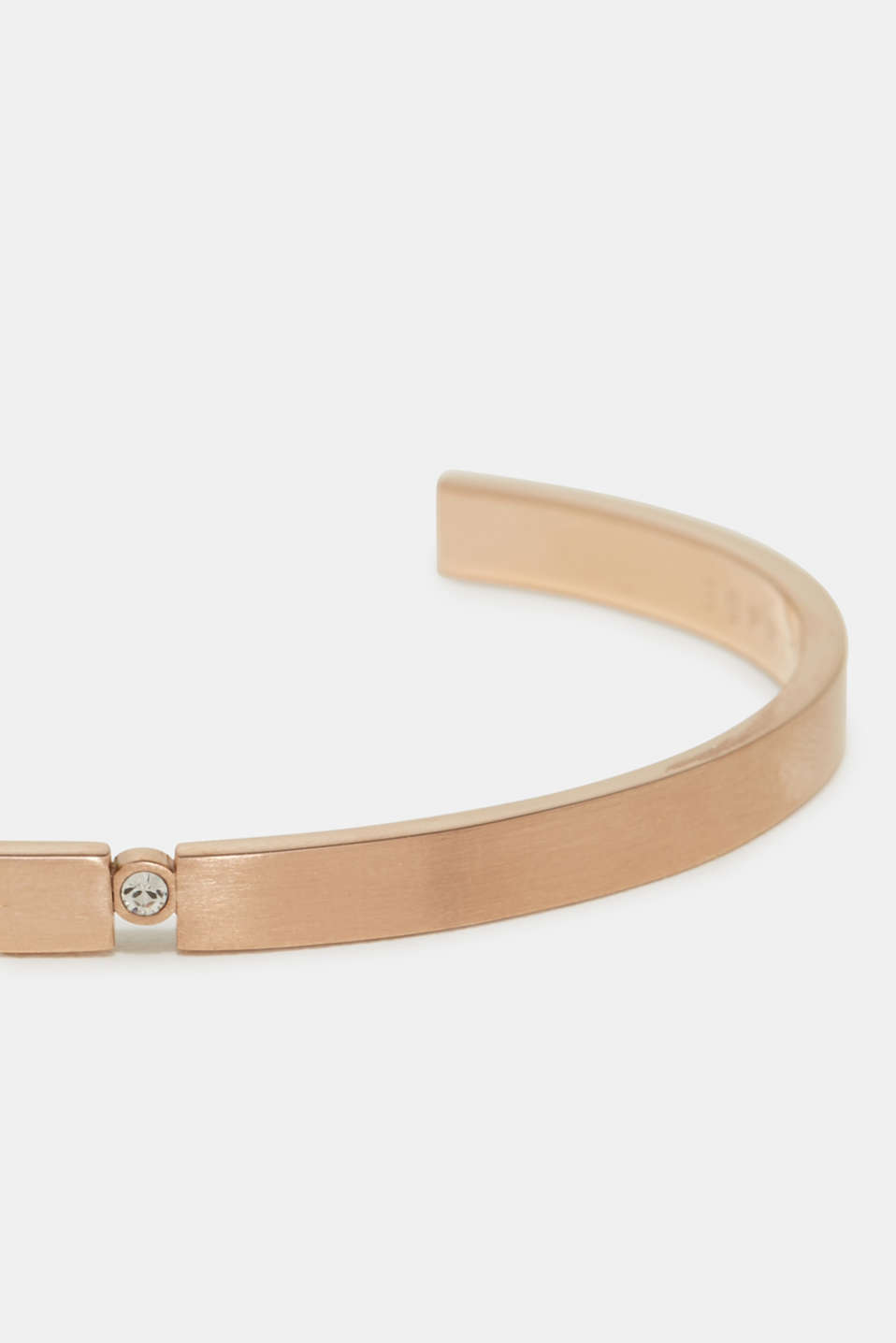 Open bangle with zirconia, in rose gold