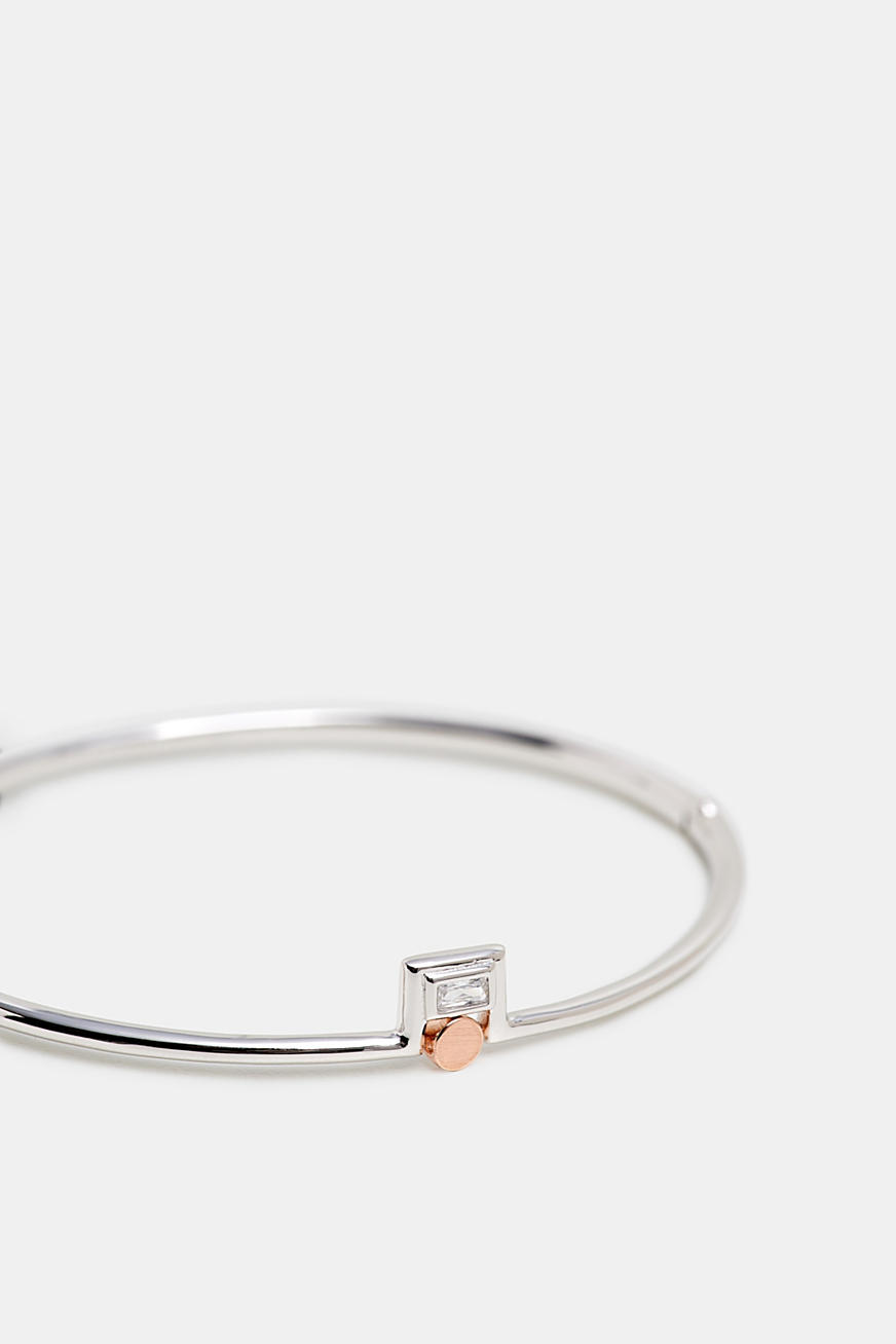 Bangle with zirconia, sterling silver