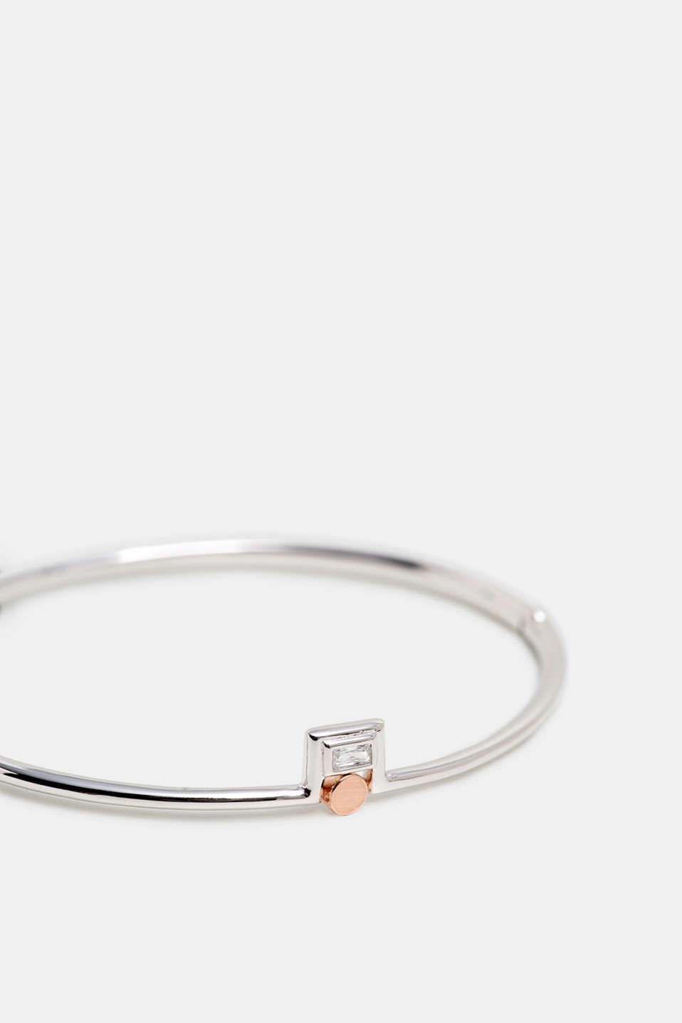 Bangle with zirconia, sterling silver, SILVER, detail image number 1