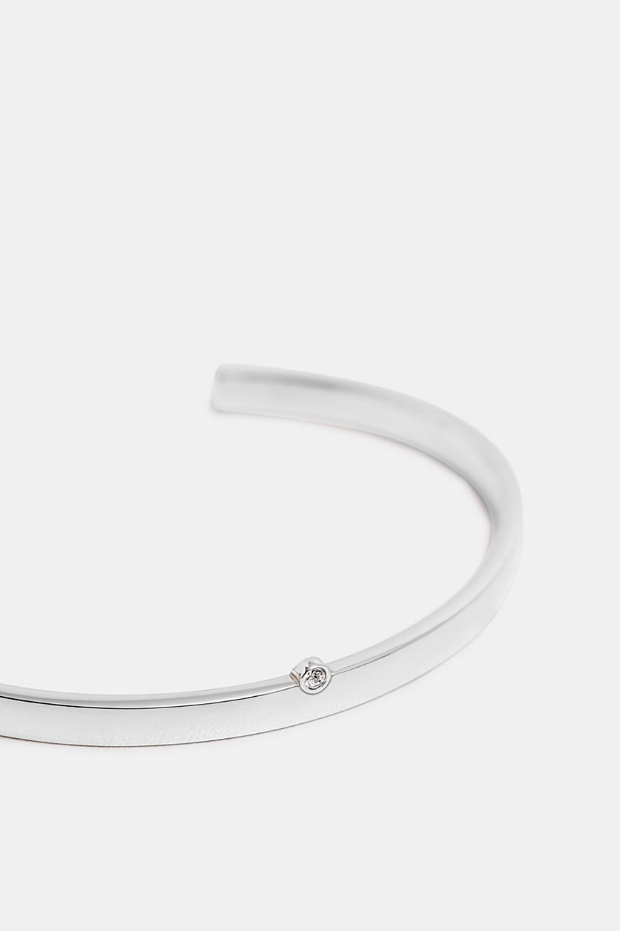 Bangle with zirconia, made of stainless steel