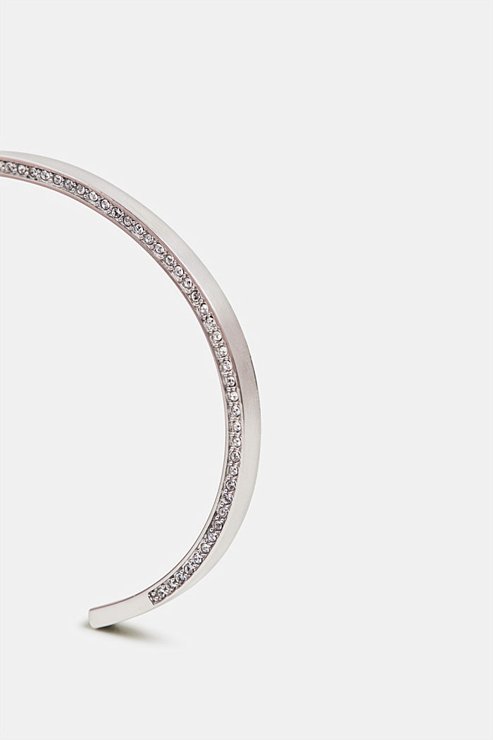 Zirconia-trimmed, stainless-steel bangle