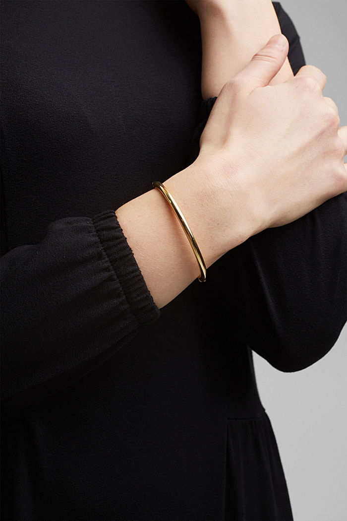 Bangle with clip fastener, stainless steel