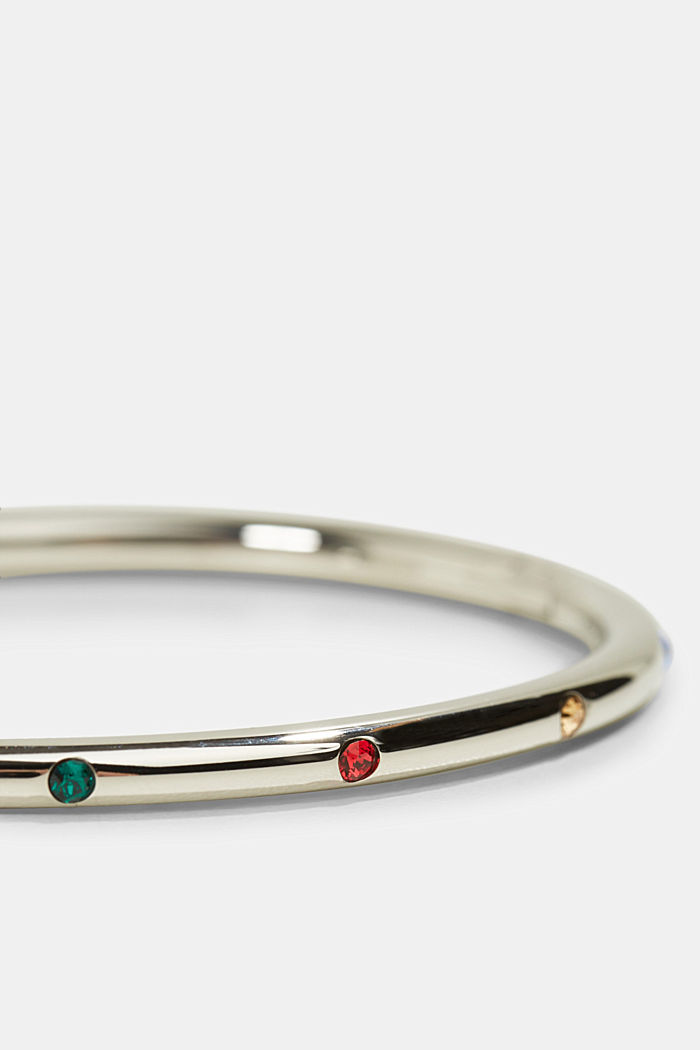 Stainless-steel bangle trimmed with colourful zirconia