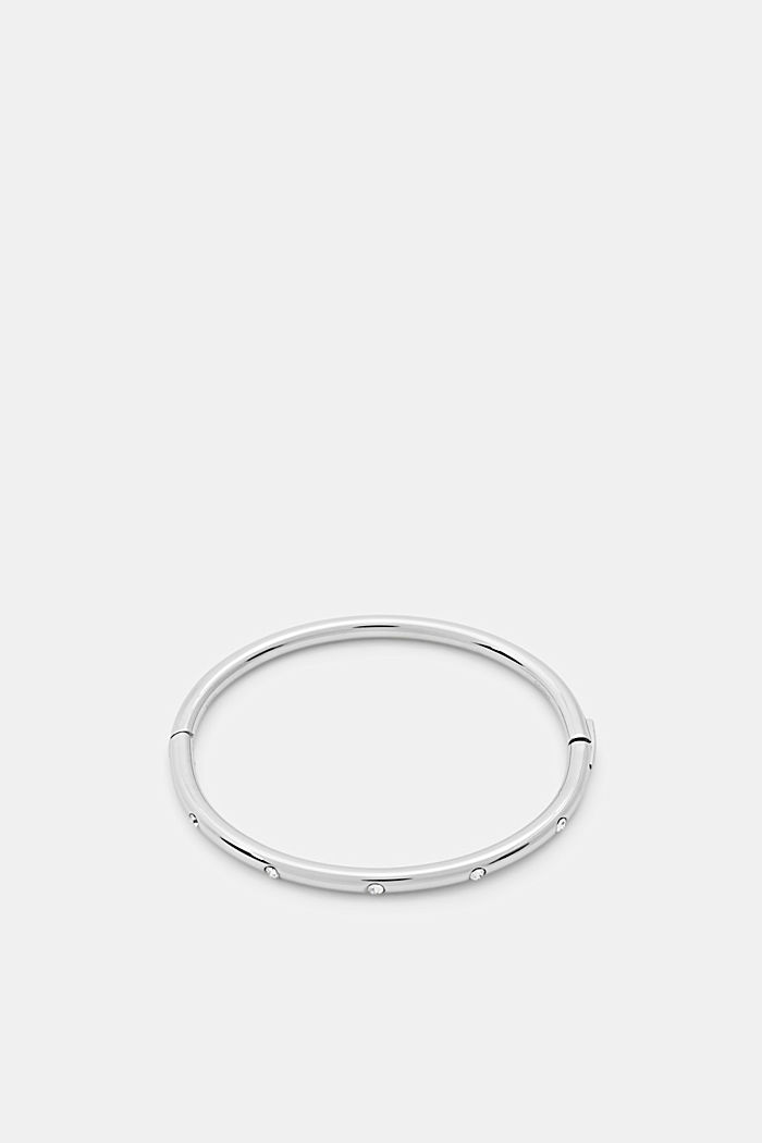 Stainless steel bangle with zirconia