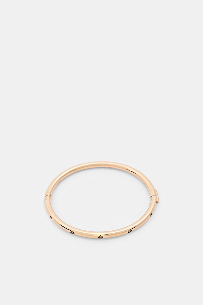 Stainless steel bangle with zirconia in rose gold