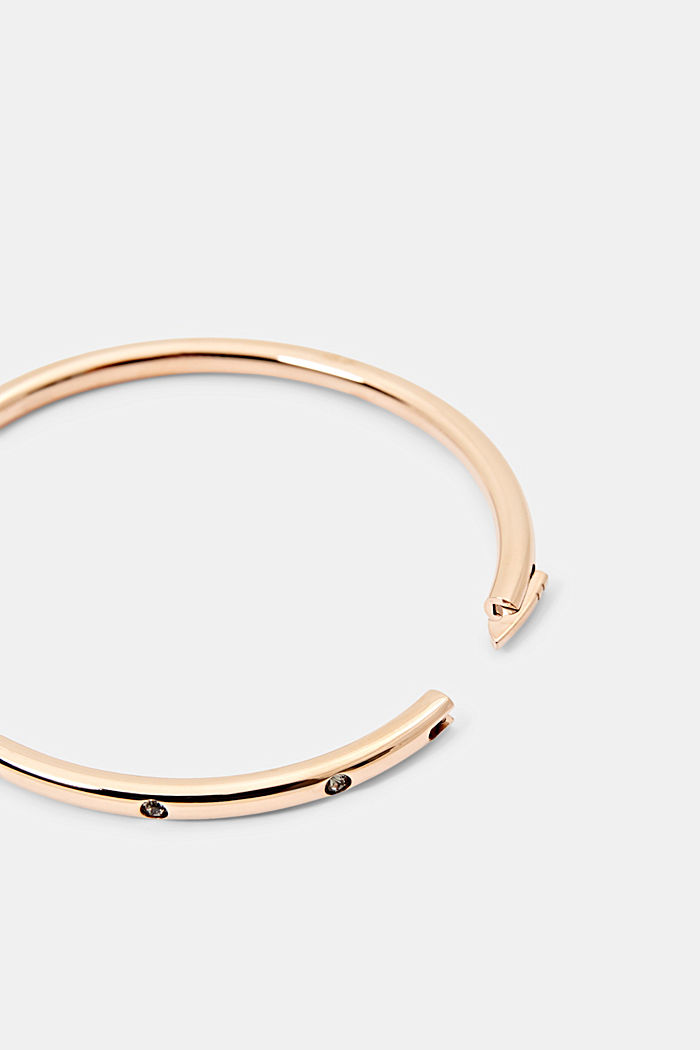 Stainless steel bangle with zirconia in rose gold, ROSEGOLD, detail image number 1