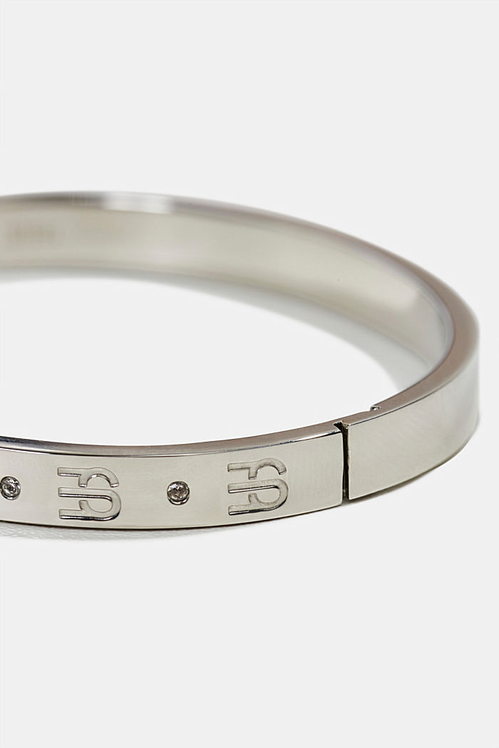 Bangle with zirconia, made of stainless steel, SILVER, detail image number 1