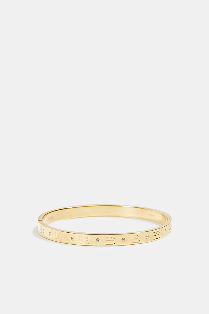 Gold-plated bangle with zirconia, in stainless steel