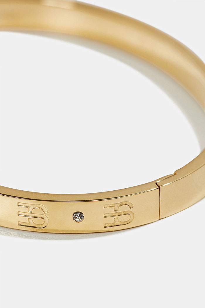 Gold-plated bangle with zirconia, in stainless steel, GOLD, detail image number 1