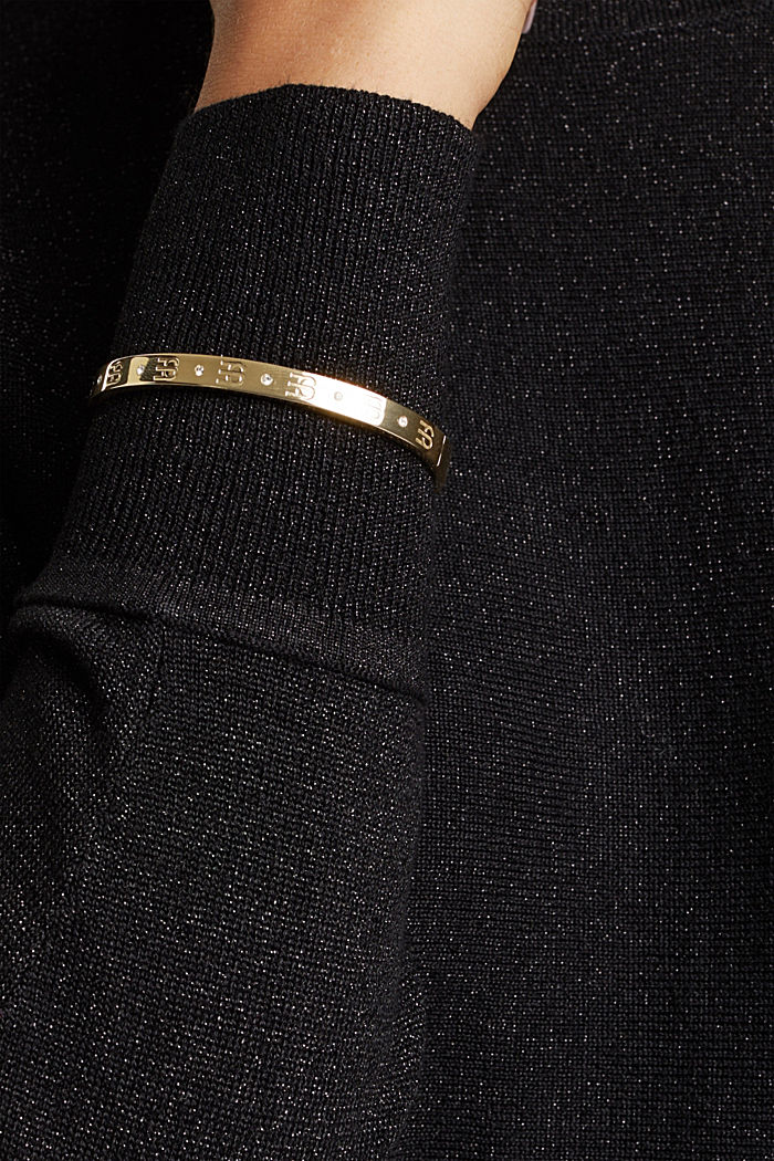 Gold-plated bangle with zirconia, in stainless steel, GOLD, detail image number 2