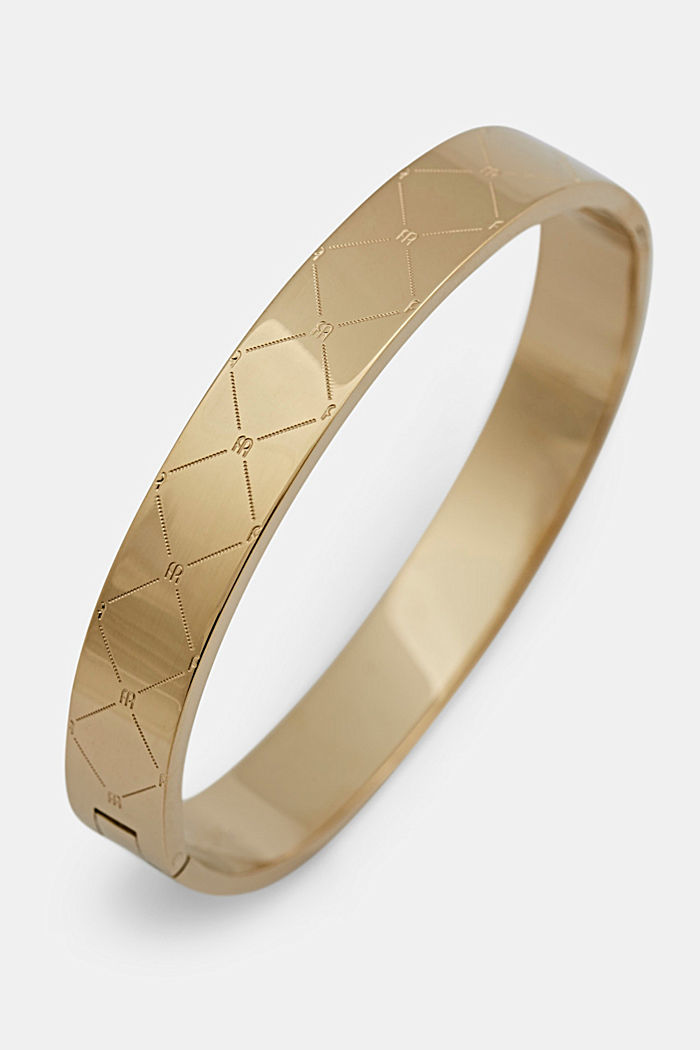Bracelet rigide en acier inoxydable à motif monogramme