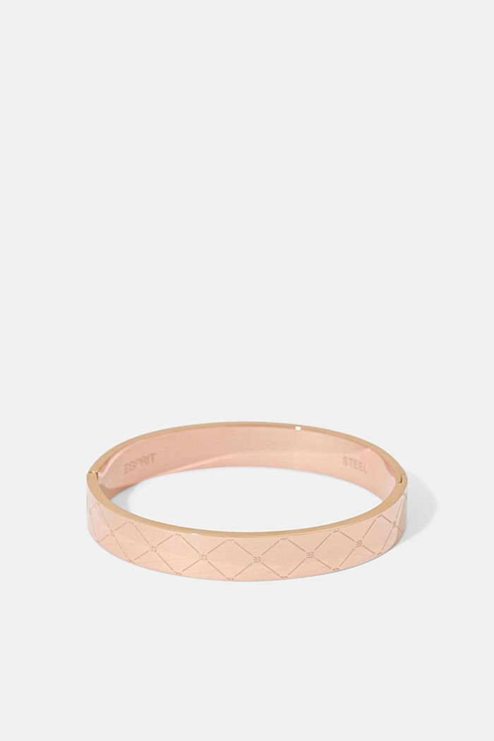 Stainless steel bangle with a monogram, ROSEGOLD, detail image number 0