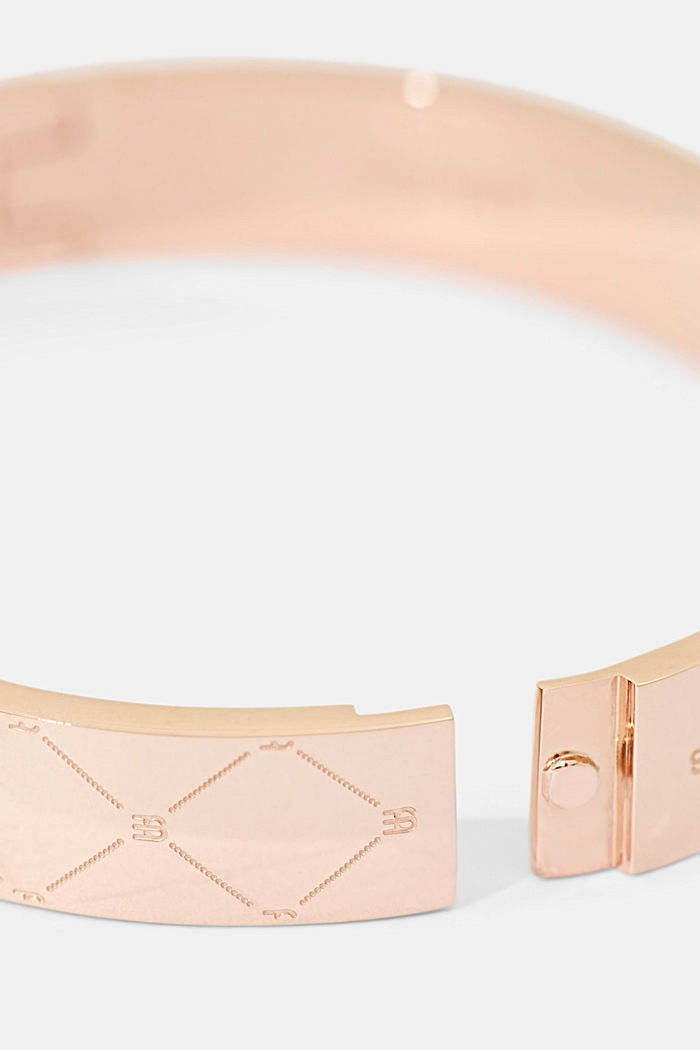 Stainless steel bangle with a monogram, ROSEGOLD, detail image number 1