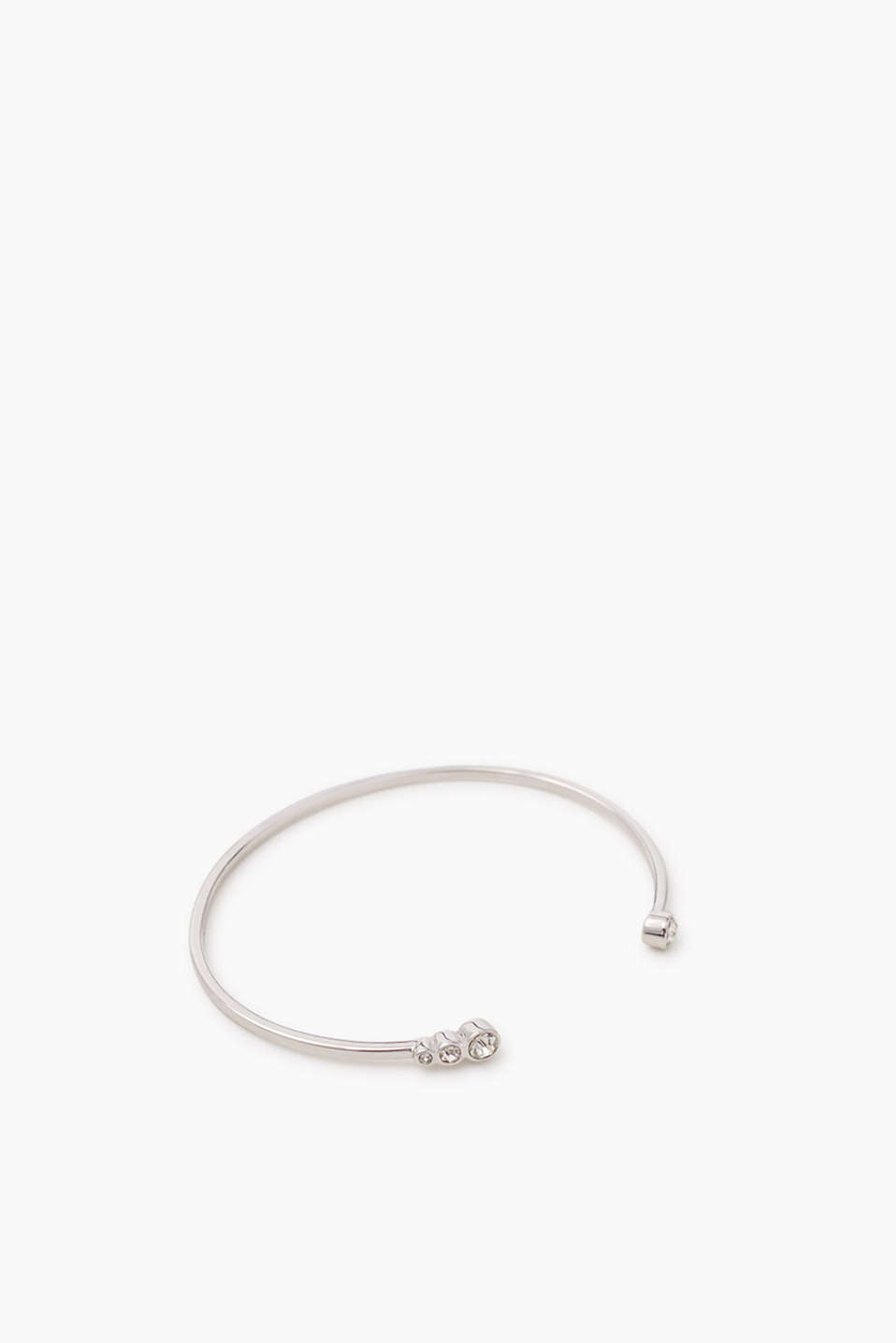 Open bangle made of high-quality metal with a white stone trim, approx. 3 mm wide