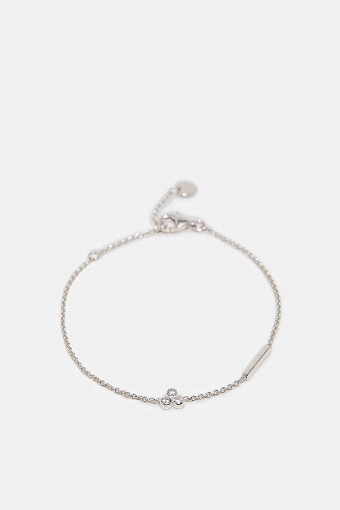 Bracelet with zirconia charm, silver, SILVER, detail image number 0