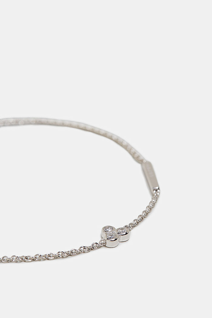 Bracelet with zirconia charm, silver, SILVER, detail image number 1
