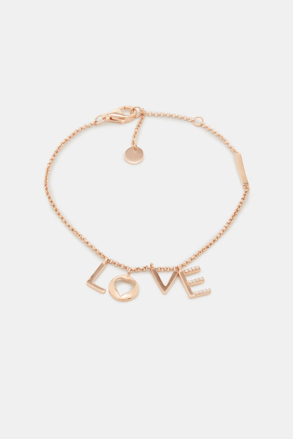 L.O.V.E. – This filigree bracelet is defined by its letters set with zirconia stones.