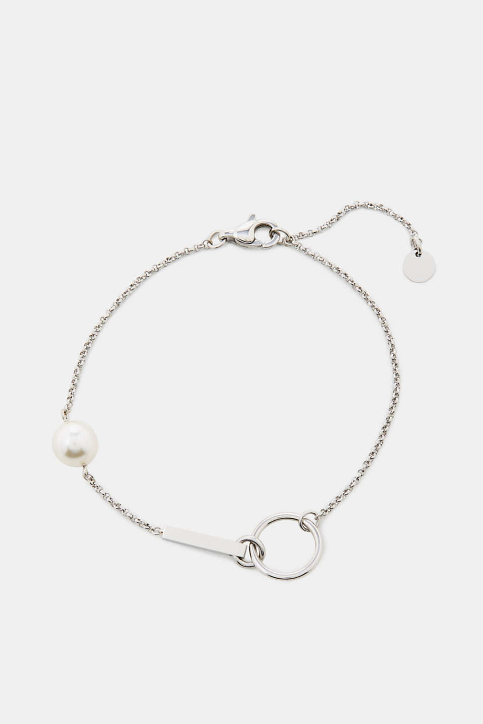 Esprit - Bracelet with a white bead, stainless steel