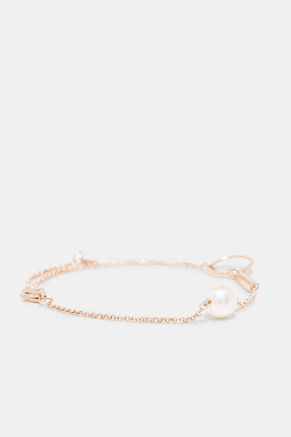 Bracelet with a white pearl, stainless steel