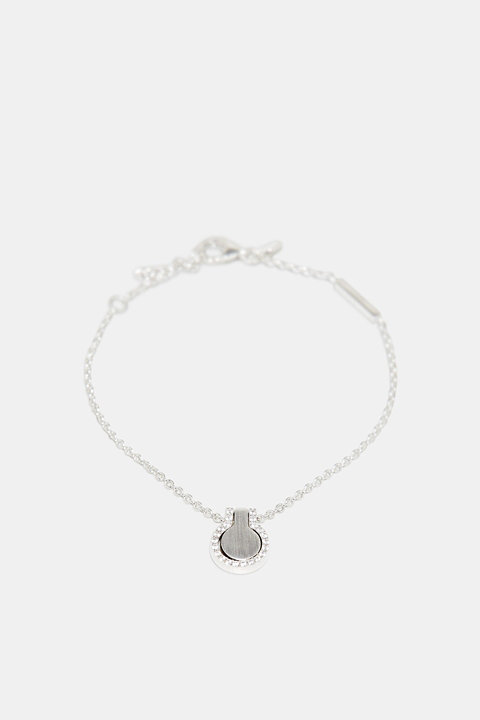 Bracelet with zirconia charm, sterling silver