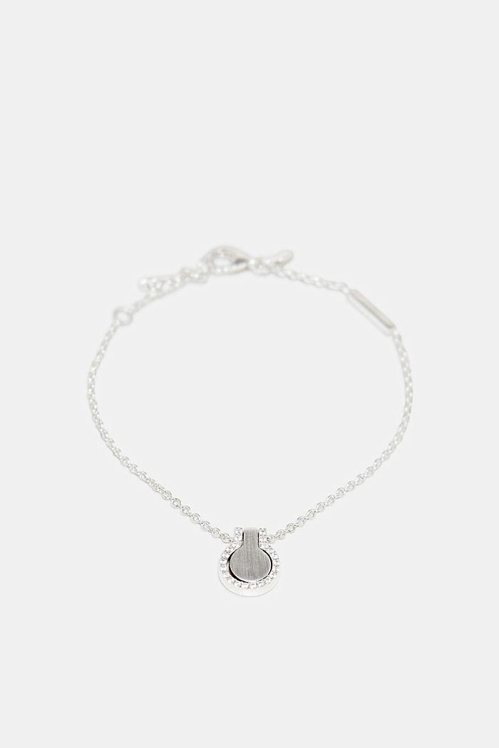 Pulsera con colgante de circonita, plata de ley, SILVER, detail image number 0