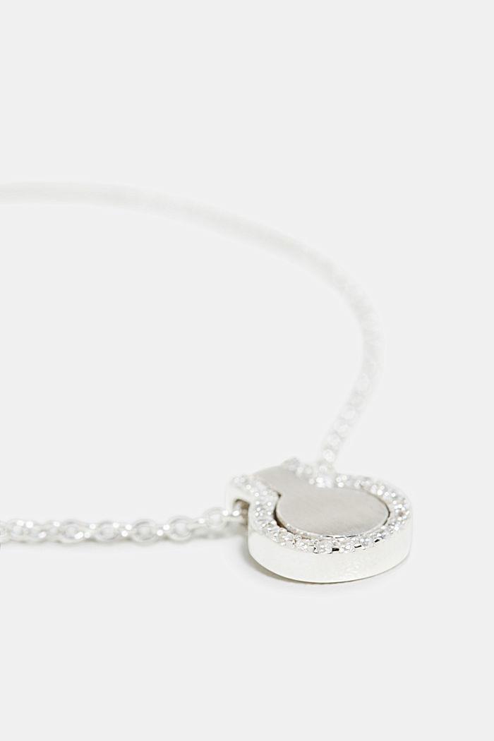 Pulsera con colgante de circonita, plata de ley, SILVER, detail image number 1