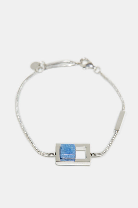 Bracelet with artificial gemstone, made of stainless steel